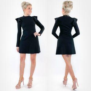Ruffle Sleeve Black Sweater Dress by J.O.A